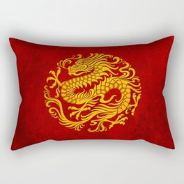 Traditional Yellow and Red Chinese Dragon Circle Rectangular Pillow