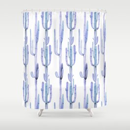 Blue Cactus Stack Pattern Shower Curtain