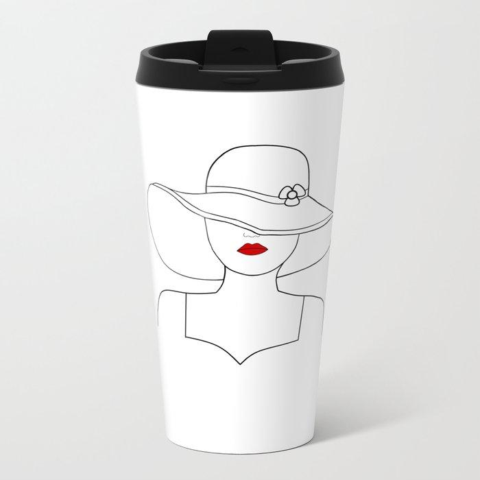 Red Lipstick Metal Travel Mug