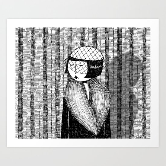 She thought of her cats and wished she was home Art Print