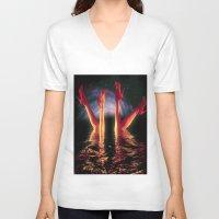 swim V-neck T-shirts featuring night swim by KrisLeov