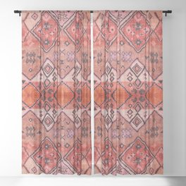 N52 - Pink & Orange Antique Oriental Traditional Moroccan Style Artwork Sheer Curtain