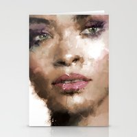 rihanna Stationery Cards featuring Rihanna by Dnzsea