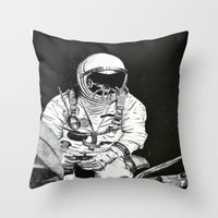 spaceman Throw Pillows featuring Spaceman by Bri Jacobs