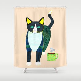 Graham the Cat with His Morning Coffee Shower Curtain