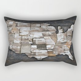 USA States Map - White Rectangular Pillow