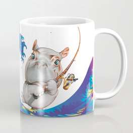 Hokusai Rainbow & Hippopotamus Fishing  Coffee Mug