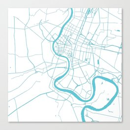 Bangkok Thailand Minimal Street Map - Turquoise and White II Canvas Print