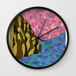 Space Rock of Fallen Blossoms Wall Clock