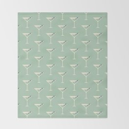 Shaken not Stirred Martini Seamless Pattern Throw Blanket