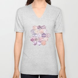 Rose Quartz and Amethyst Stone and Marble Hexagon Tiles Unisex V-Neck