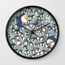 Baby Penguin Pattern Wall Clock