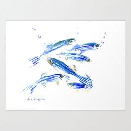 Blue Fish Aquatic fish design Art Print