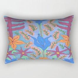 Lush Blue Bohemian Floral Garden Rectangular Pillow