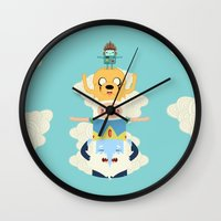 totem Wall Clocks featuring Adventure Totem by Daniel Mackey