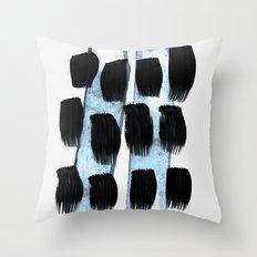 black white blue Throw Pillow