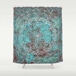 Rusty Cyan Red Mandala Design Shower Curtain