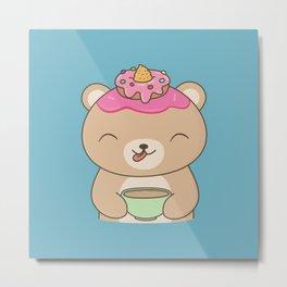Kawaii Cute Coffee Drinking Bear Metal Print