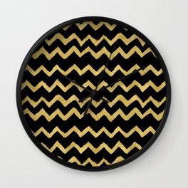 Golden Chevron on Black Background Wall Clock