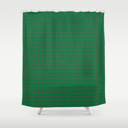 Green Wall Red Line Shower Curtain