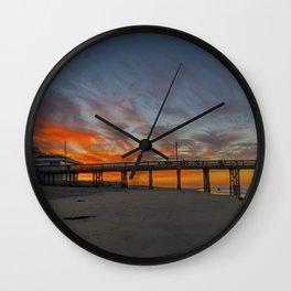 Pre-Sunrise at Newport Pier Wall Clock