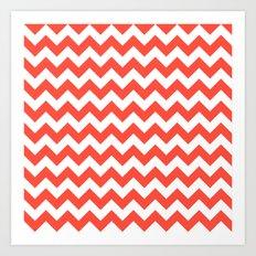 Red Chevron Art Print