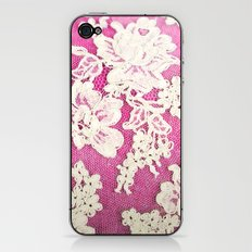 pink lace-photograph of vintage lace iPhone & iPod Skin