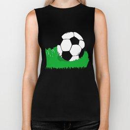 Soccer Ball In Grass Printmaking Art Biker Tank