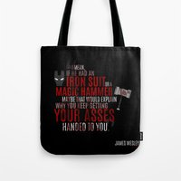 wesley bird Tote Bags featuring Daredevil: James Wesley by seaotta