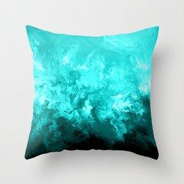 Teal - Fluid Abstract Art Throw Pillow