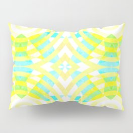 Funky geometry in yellow and blue Pillow Sham