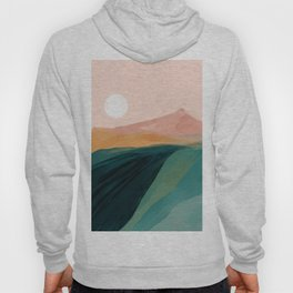 pink, green, gold moon watercolor mountains Hoody
