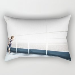 Child staring at the sea Rectangular Pillow