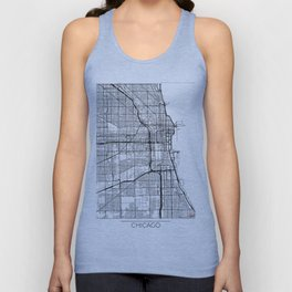 Chicago Map White Unisex Tank Top