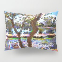 Trees Pond and Light Streams Pillow Sham