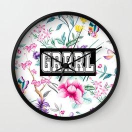 GRRRL - white floral pattern Wall Clock