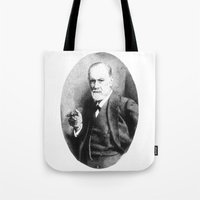 freud Tote Bags featuring Sigmund Freud (Pen Pointillism) by Daniel Point