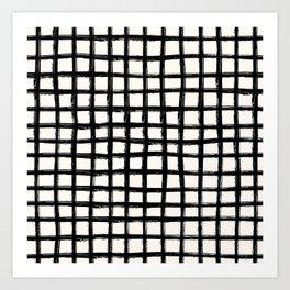 Black and white plaid tartan Art Print