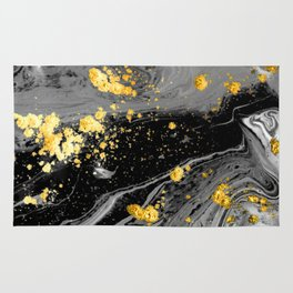 Black Marble Gold Rug