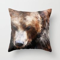 bear Throw Pillows featuring Bear // Gold by Amy Hamilton