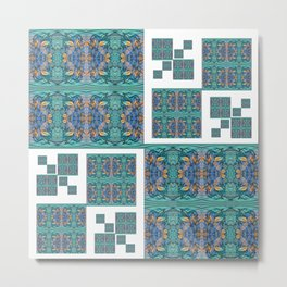 Optical Illusion Square Aqua Lavendar Mandala Quilt Design Metal Print
