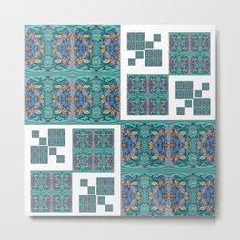 Optical Illusion Square Aqua Lavendar Mandala Quilt Design Metal Print