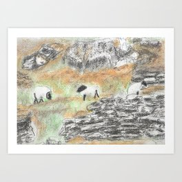 Sheep by the Wall Art Print