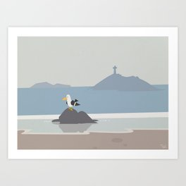 Seagull Beach Wall Art, Beach Art Nursery Decor, Nursery Wall Art for Boys Room Art Print