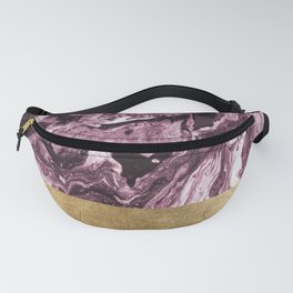 Violet golden geometric marble Fanny Pack