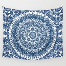 Blue Mandala Pattern Wall Tapestry