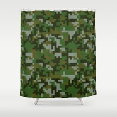 Green Pixel Army Camo pattern Shower Curtain