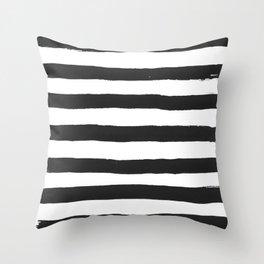 Black paint stripes Throw Pillow