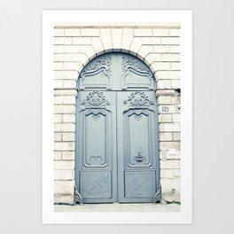 Light Gray Paris Door Art Print