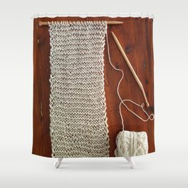 knitting,knit scarf, oatmeal color, natural color, craft, wood, Shower Curtain